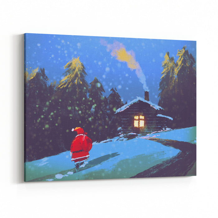 Winter Landscape With Santa Claus And Wooden House At Christmas ...