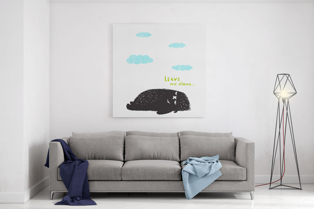 Leave Me Alone Lying Black Little Monster And Clouds Sweet Kids Fictional Melancholy Character Picture Vector Illustration Canvas Wall Art Print
