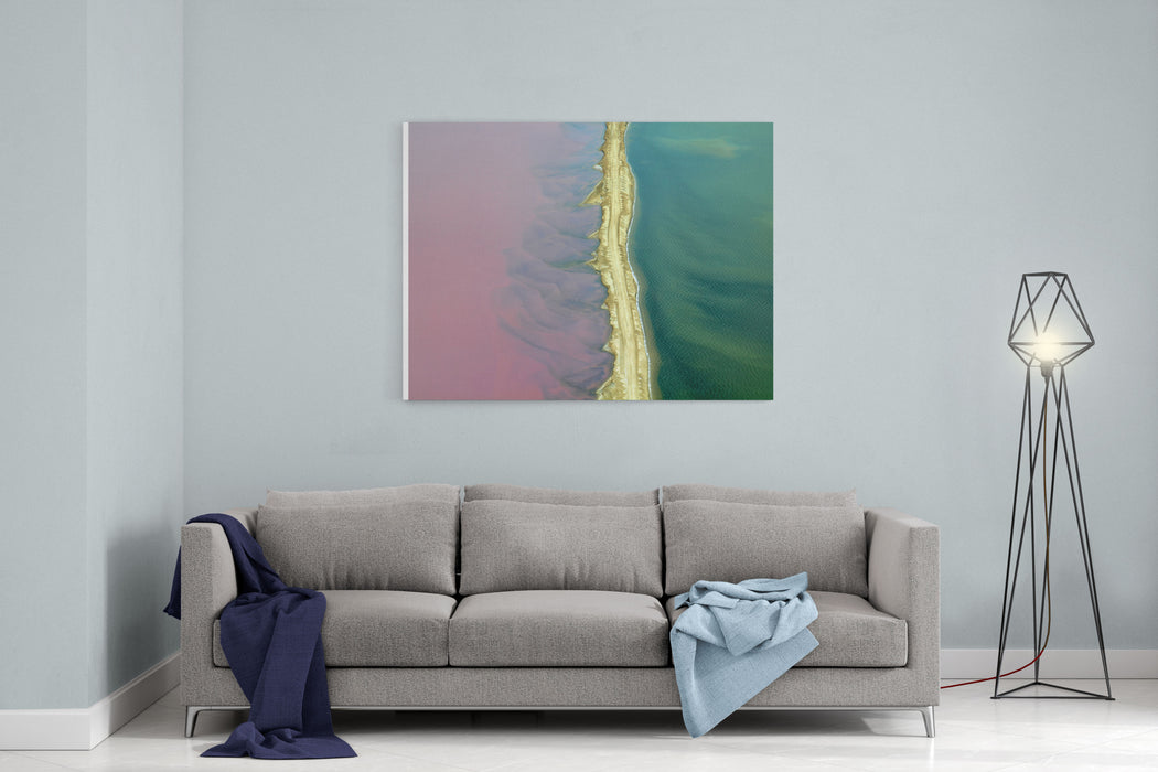 Aerial View Of Road Between Commercial Salt Pans In Walvis Bay, Namibia Canvas Wall Art Print