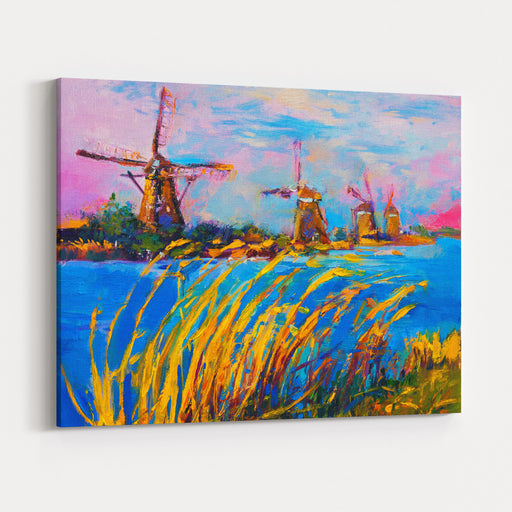 Original Oil Painting On Canvasautumn Landscape With Windmillsmodern Impressionism By Nikolov Canvas Wall Art Print