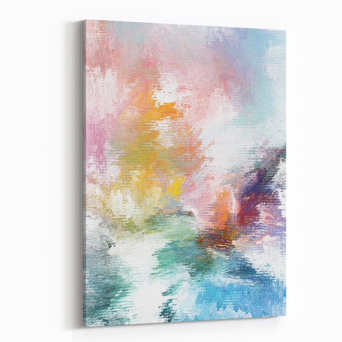 Yellow White Green And Blue Abstract Painting On Canvas Canvas Wall Art Print