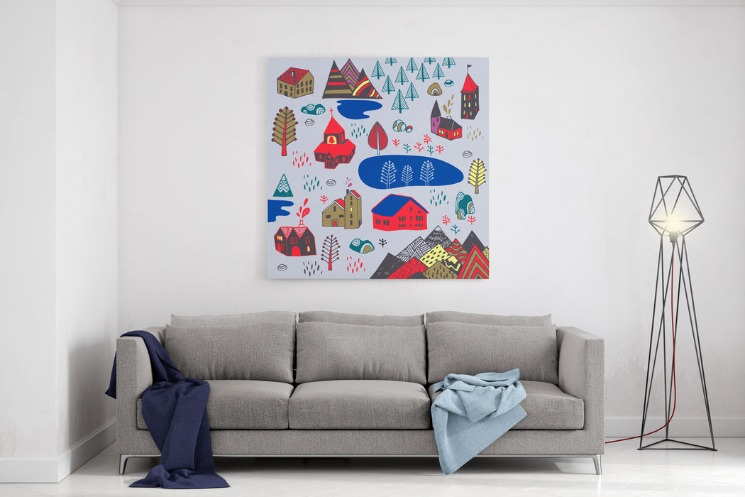 Scandinavian Style Vector Illustration With Norwegian Village Canvas Wall Art Print