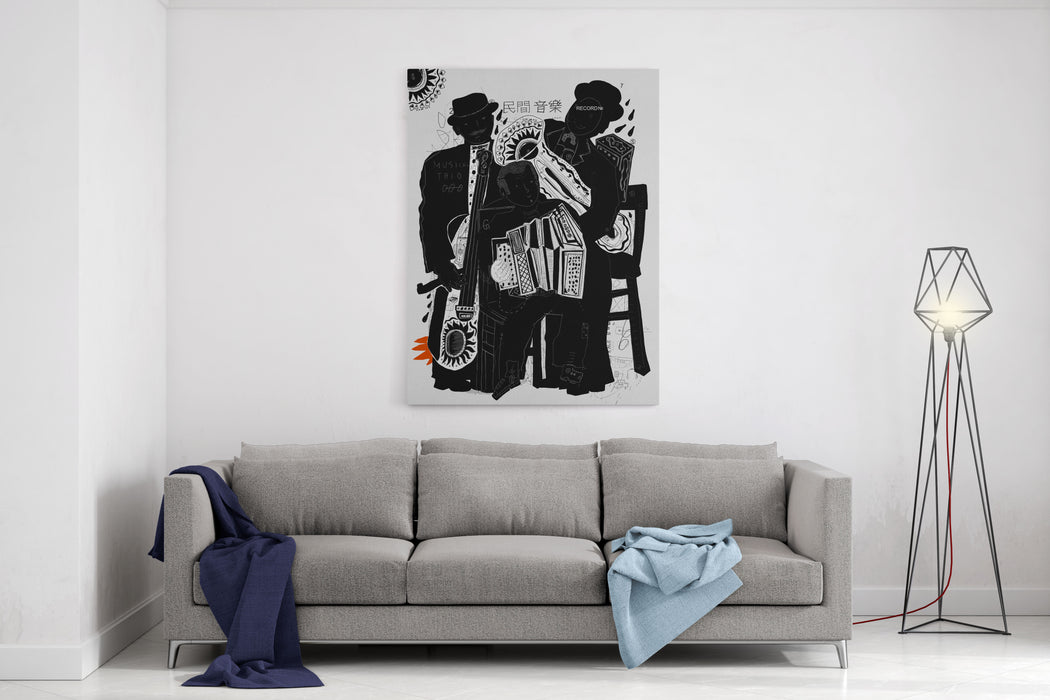 Image Of Musicians Who Are Playing In The StreetTranslation Chinese Words  Folk Music Canvas Wall Art Print