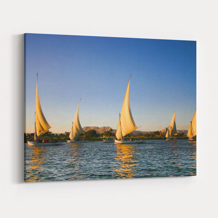 Felucca On The Nile River Canvas Wall Art Print
