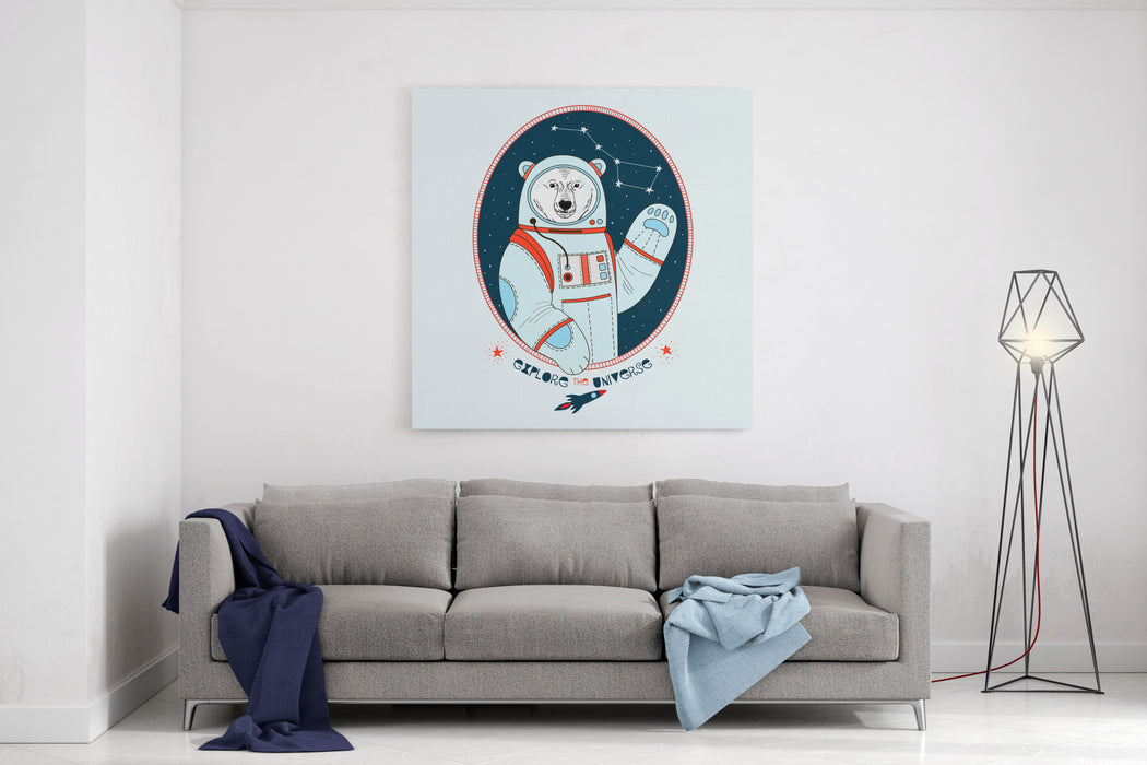 Polar Bear Astronaut In Outer Space , Kid Illustration, Textile Design, Art Print Canvas Wall Art Print