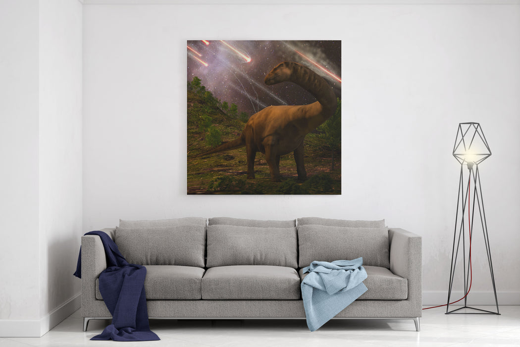 An Apatosaurus Looks Upon Meteors Raining Down That Would Precede The Larger Asteroid Strike That Would Lead To The Extinction Of The Dinosaurs  Million Years Ago Canvas Wall Art Print