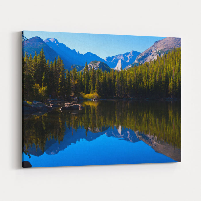 Brilliant Reflections On Bear Lake, Rocky Mountain National Park , Colorado Canvas Wall Art Print