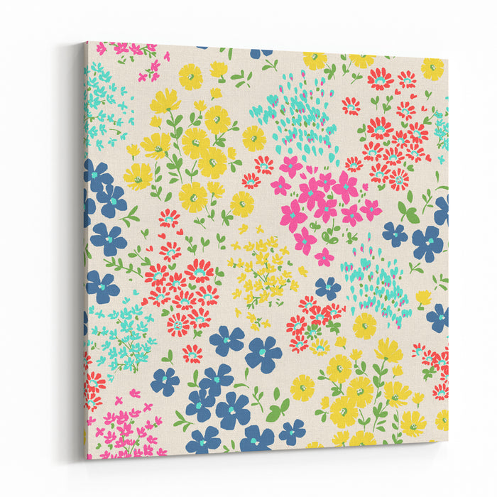 Seamless Ditsy Floral Pattern In Vector Canvas Wall Art Print