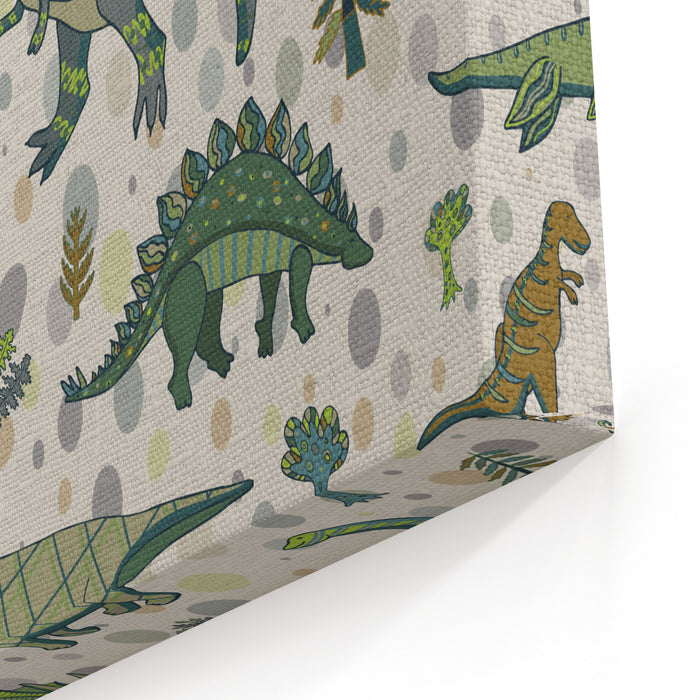Dinosaur Pattern Canvas Wall Art Print