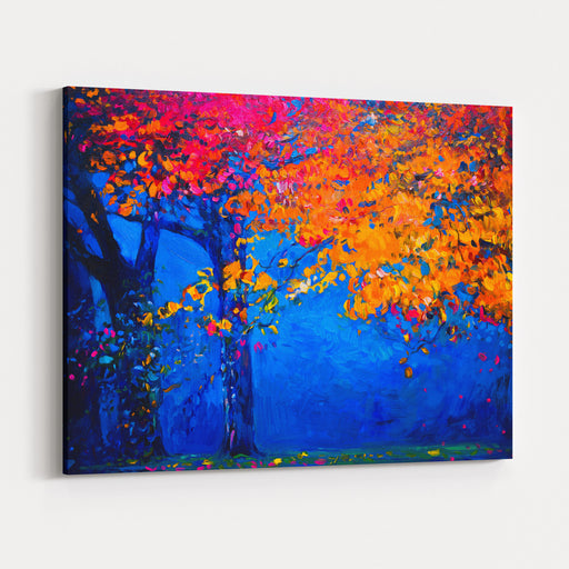 Original Oil Painting Autumn Landscape Modern Impressionism Canvas Wall Art Print