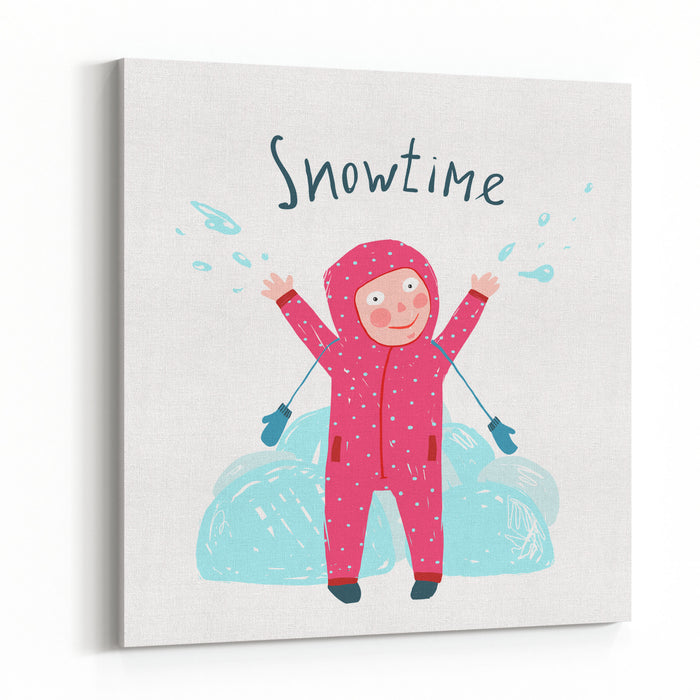 Cute Child Girl In Winter Clothes Playing With Snow Colorful Childish Cartoon Happy Kid In Mittens And Seasonal Clothes For Cold Weather Colorful Kid Hand Drawn Sketchy Illustration Vector Cartoon Canvas Wall Art Print