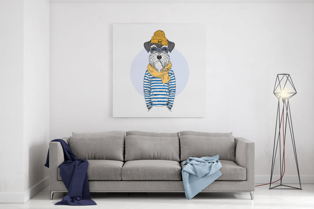 Schnauzer Dog Sailor, Nautical Poster, Furry Art, Hand Drawn Illustration Canvas Wall Art Print