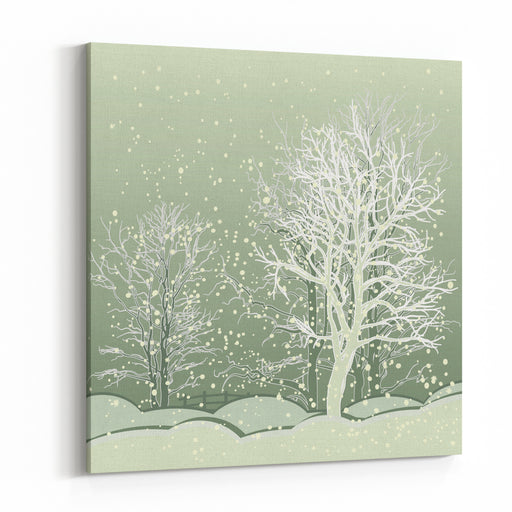 Vector Of Winter Scene With Forest Background, Fantasy Winter Landscape Winter Scene With Snowflakes For Christmas Cards And Book Cover Design Canvas Wall Art Print
