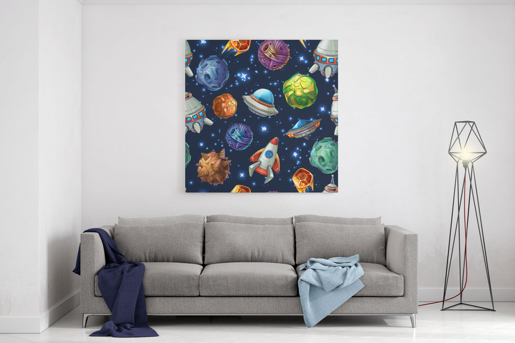 Comic Space With Planets And Spaceships Rocket Cartoon, Star And Science Design Vector Seamless Pattern Canvas Wall Art Print