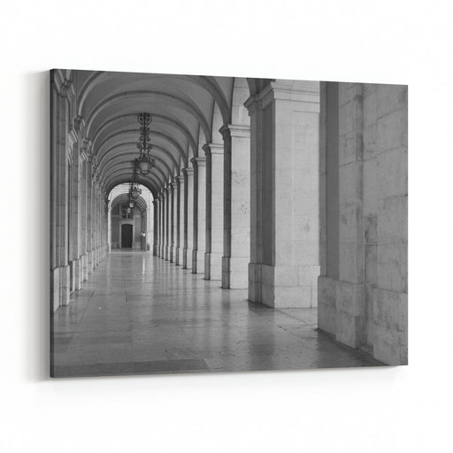 Arched Corridor In The Supreme Court Of Justice, Lisbon, Portugal Canvas Wall Art Print