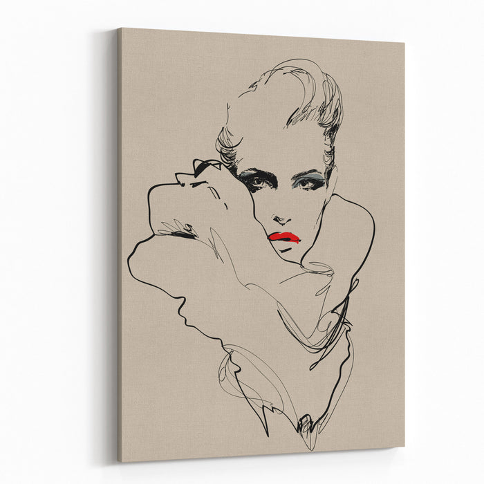 A Woman Vector Sketch In Fashion Illustration Style Canvas Wall Art Print