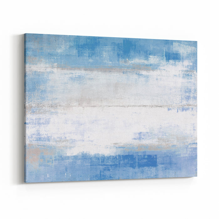 Blue And Grey Abstract Art Painting Canvas Wall Art Print