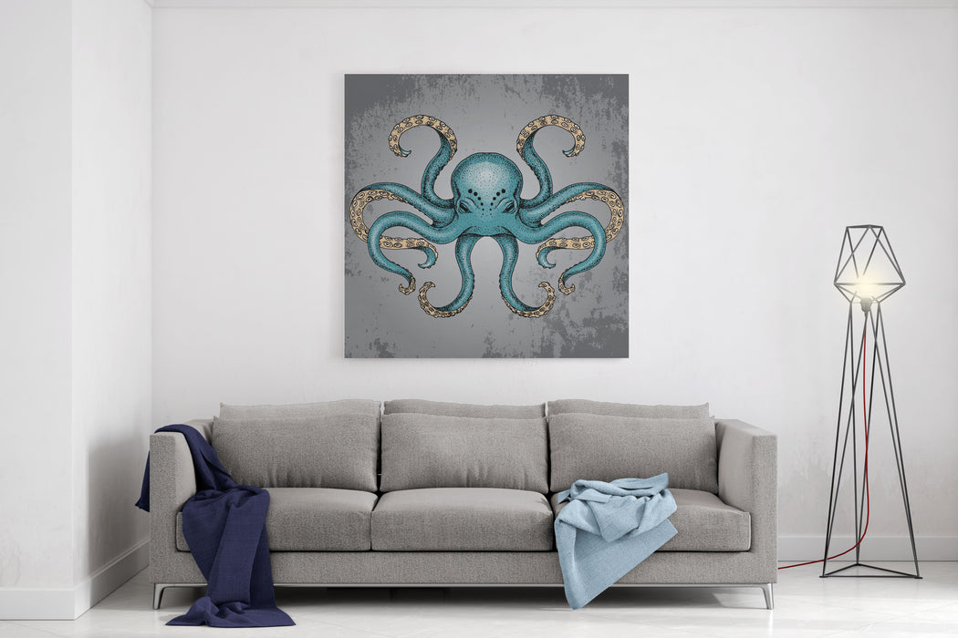 Blue Octopus With Grunge Background In Dotwork Tattoo Style Vector Illustration Canvas Wall Art Print