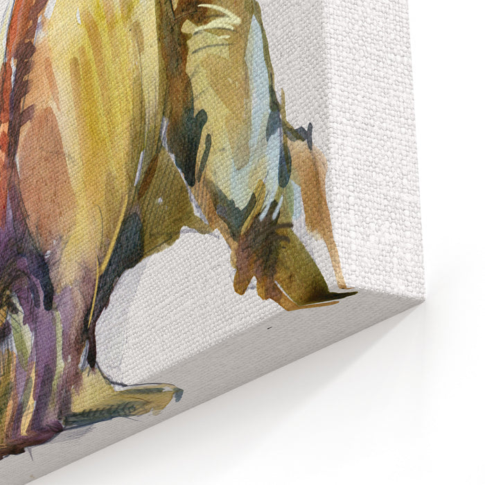 Dinosaur Watercolor Illustration Canvas Wall Art Print