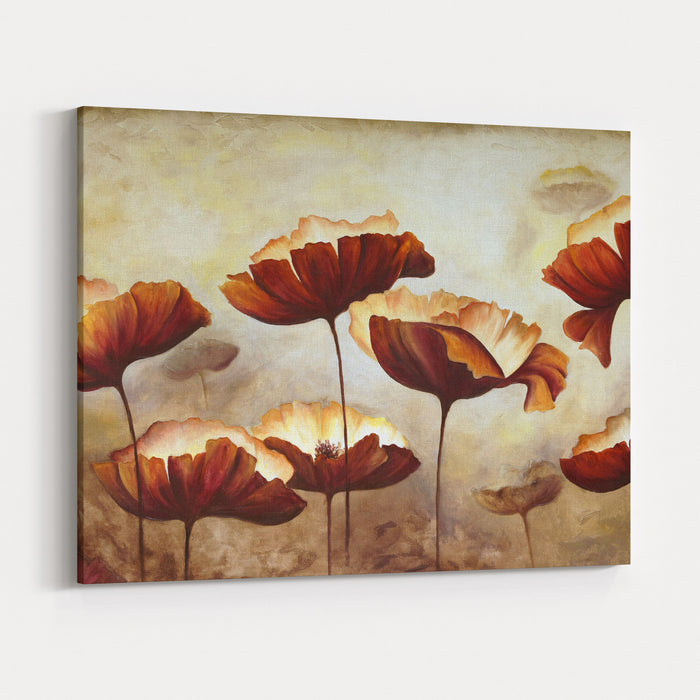 Painting Poppies With Texture Canvas Wall Art Print