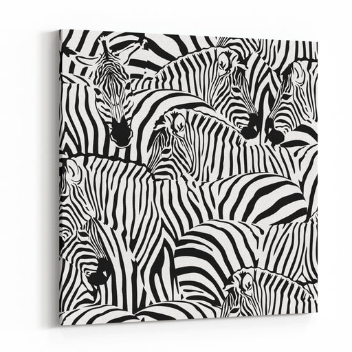 Abstract Illustration Herd Of Zebras, Animal Seamless Pattern, Fashion Striped Print, Monochrome, Color Black And White,  Spring Summer,   Design Trendy Fabric Texture, Tropical  Vector Canvas Wall Art Print