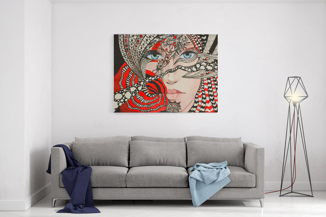 Abstract Painting Of Charms And Magic Dreams  Fantasy Girl Portrait With Cimaruta Charm And Ornament, Acrylic Painting Canvas Wall Art Print