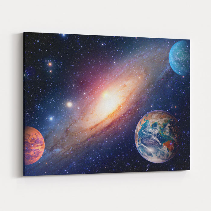 Astrology Astronomy Earth Outer Space Solar System Mars Planet Milky Way Galaxy Elements Of This Image Furnished By NASA Canvas Wall Art Print
