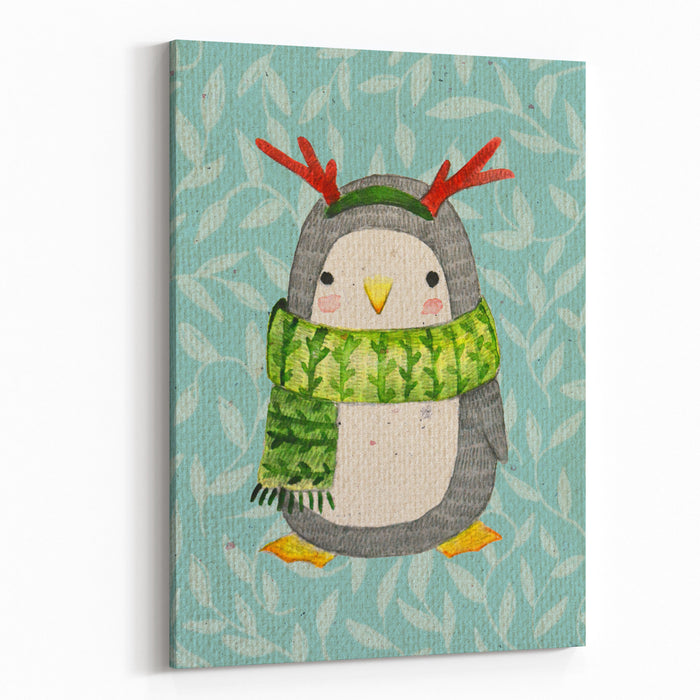 Cute Penguin In Scarf Watercolor Illustration Canvas Wall Art Print