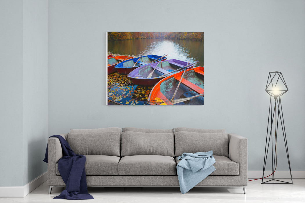 Small Pier With Boats On Lake Colorful Autumn Landscape Canvas Wall Art Print