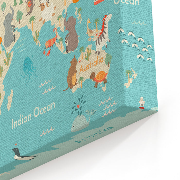 Animals World Map For Children, Kids Animals Poster Continent Animals, Sea Life South America, Eurasia, North America, Africa, Australia Poster World Map Vector Illustration, Preschool, Oceans Canvas Wall Art Print