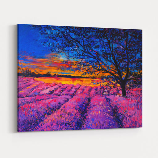 Original Oil Painting On Canvas Modern Art Beautiful Sunset Over Lavender Field Canvas Wall Art Print