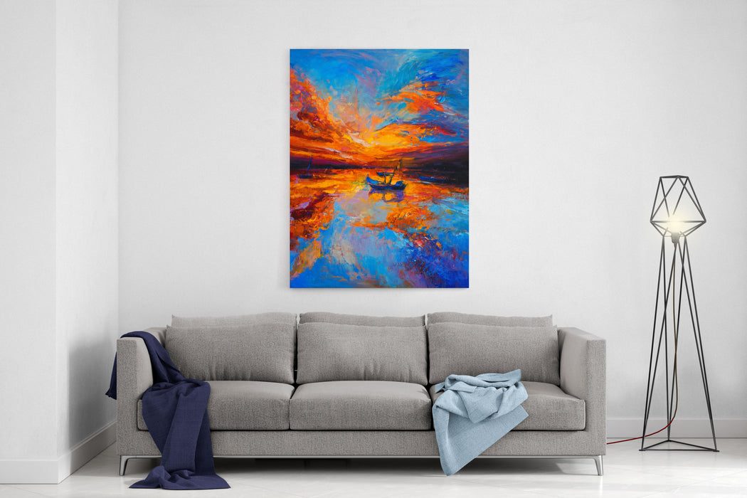 Original Oil Painting Fishing Boats And Sunset  Modern Impressionism Canvas Wall Art Print