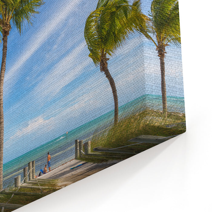 Blue Sky With White Sand And Palm Beach In Key West, USA Canvas Wall Art Print