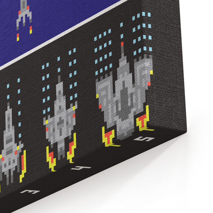 Pixel Art Style Space War And Spaceship Game Upgrades Vector Set Canvas Wall Art Print