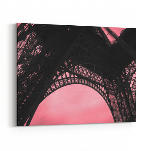 EIFFEL TOWER, PARIS, FRANCE Eiffel Tower Base Arch Detail With Red Sky Background  Most Recognizable And Visited Structure In The World  La Tour Eiffel  BW Photography  Red Tint Canvas Wall Art Print