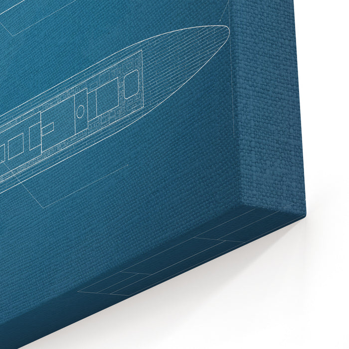 Blueprint Ship Canvas Wall Art Print