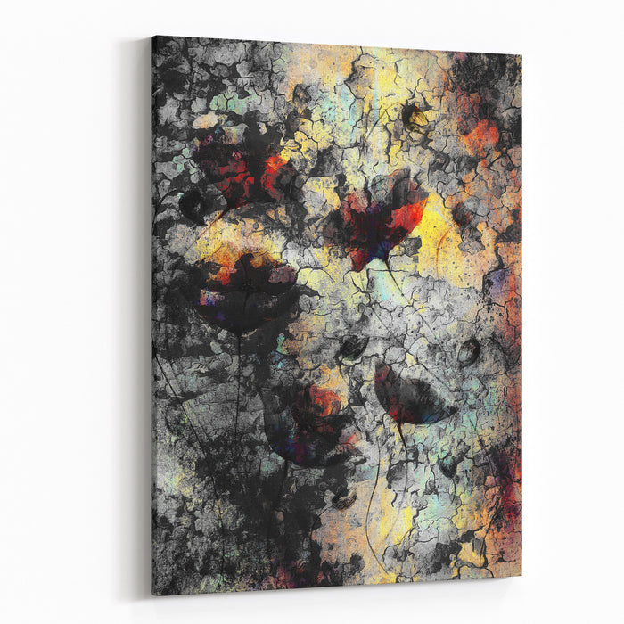 Painting Color Poppy On Color Background Color Flower On Abstract  Background With Desert Crackle Structure Canvas Wall Art Print