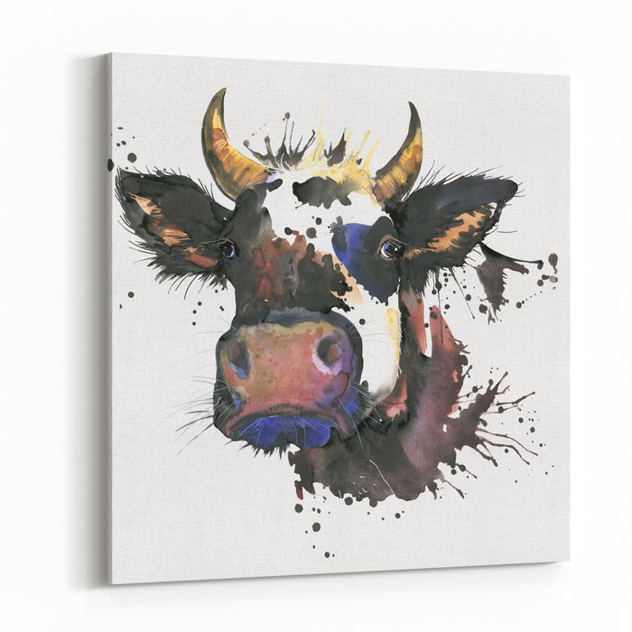 Cow Watercolor Graphics Cow  Animal Illustration With Splash Watercolor Textured Background Unusual Illustration Watercolor Cow Canvas Wall Art Print
