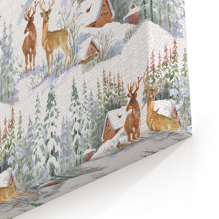 Watercolor Winter Landscape With Deers, Seamless Pattern Canvas Wall Art Print