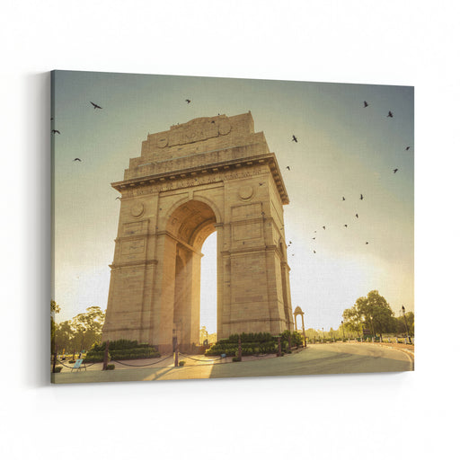 Birds Flying Over India Gate, New Delhi Canvas Wall Art Print