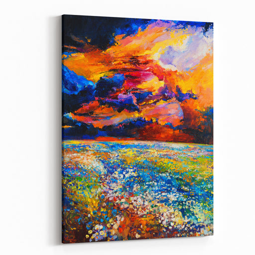 Abstract Oil Painting Of Poppy Field In Front Of Beautiful Sunset On Canvas Modern Impressionism Canvas Wall Art Print