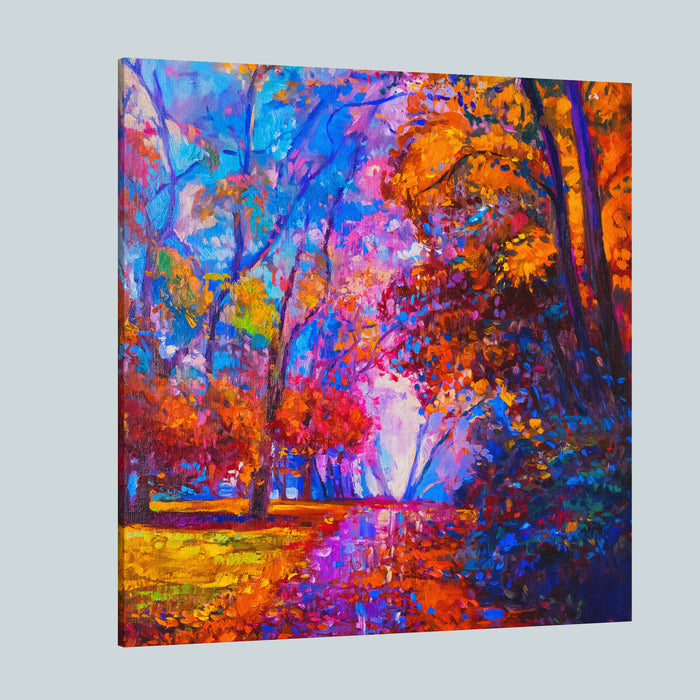 Oil Painting Landscape Colorful Autumn Trees Modern Impressionism Canvas Wall Art Print