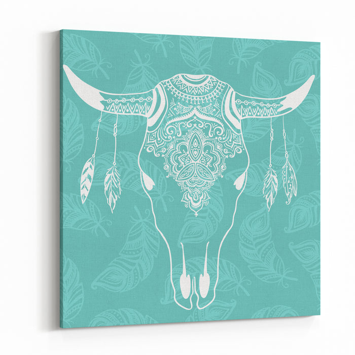 Cow Skull With Feathers Isolated On Blue Background Boho Style Vector Element For Your Design Hand Drawn Illustration Canvas Wall Art Print