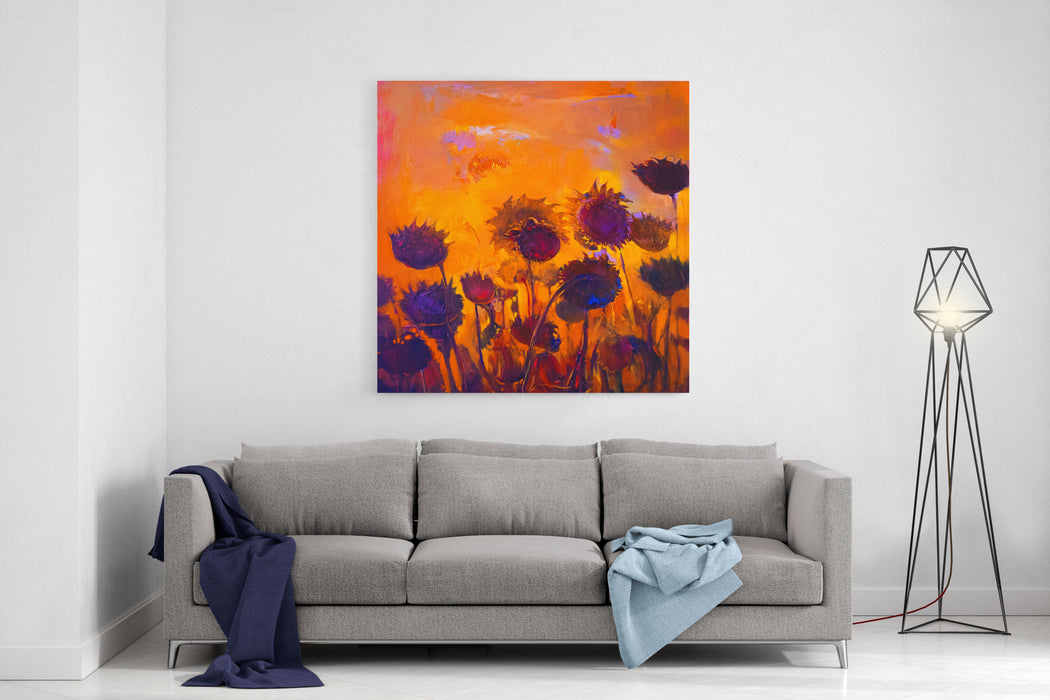 Original Oil Painting On Canvas With Yellow Sunflowers Modern Impressionism Canvas Wall Art Print