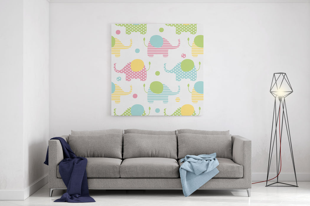 Cute Seamless Pattern With Elephants In Pastel Colors Kids Illustration Canvas Wall Art Print