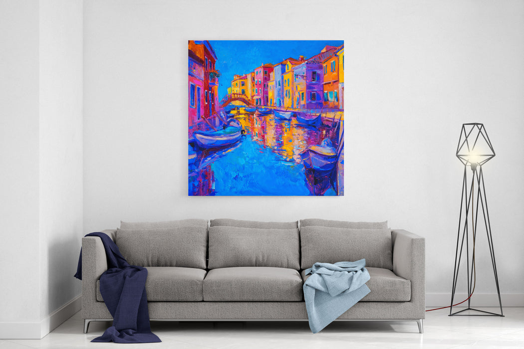 Original Oil Painting Of Beautiful Venice, Italy On CanvasModern Impressionism Canvas Wall Art Print