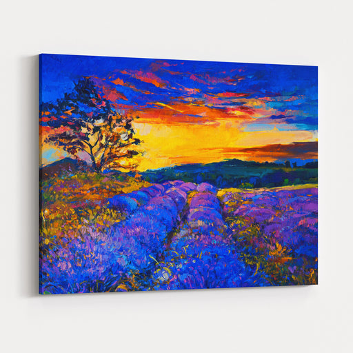 Original Oil Painting On CanvasModern Art Beautiful Lavender Field At Sunset Canvas Wall Art Print