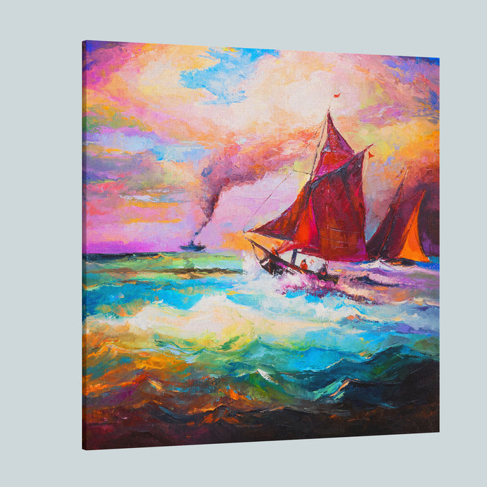 Original Oil Painting On Canvas Boats And Sea Modern Impressionism Canvas Wall Art Print