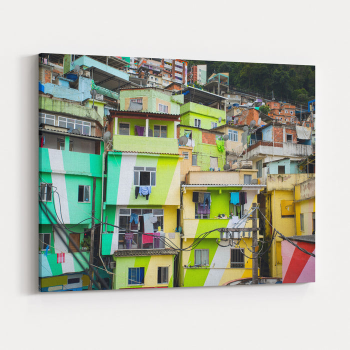 Colorful Painted Buildings Of Favela  In Rio De Janeiro Brazil Canvas Wall Art Print