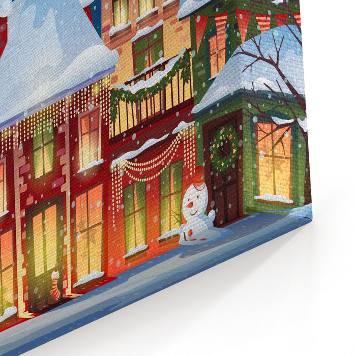 Amazing Winter Landscapechristmas Background With Fairy Tale Houses Snowy Town Atholiday Evevector Illustration Canvas Wall Art Print Interior Design Ideas Skatsoteloinfo